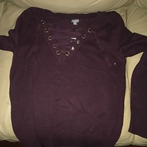 Corset front burgundy sweater